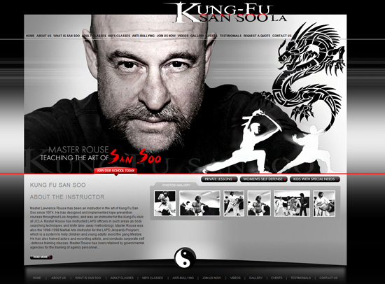 Website design example for martial arts instructor in Hollywood big